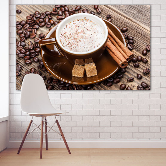 Canvas prints & wall decorative panels - 1 piece №0833 » Brown, Black, Gray, Beige » Coffee, Drink, Morning, Breakfast, Hot, Restaurant, Cup, Sweet, Cappuccino, Espresso, Caffeine, Aromatic, Aroma, Cream Form #1