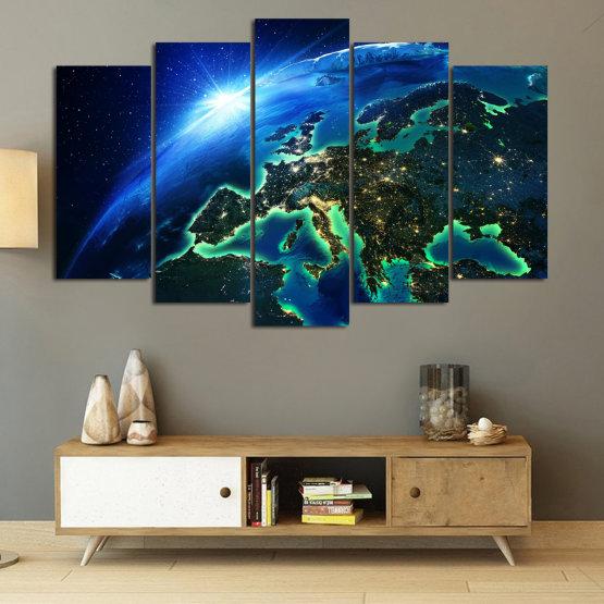 Декоративни панели и картини от канава - от 5 части №0834 » Син, Тюркоаз, Черен » Океан, Небе, Планета Form #1
