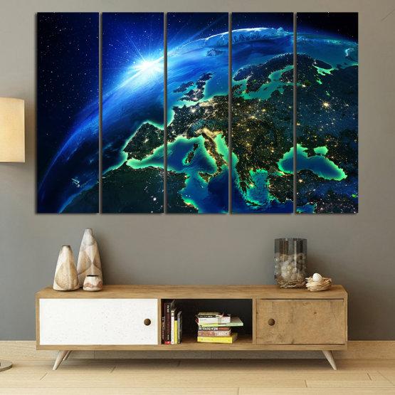 Декоративни панели и картини от канава - от 5 части №0834 » Син, Тюркоаз, Черен » Океан, Небе, Планета Form #2