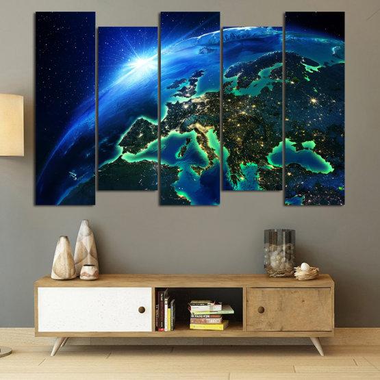 Декоративни панели и картини от канава - от 5 части №0834 » Син, Тюркоаз, Черен » Океан, Небе, Планета Form #3