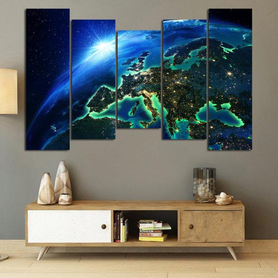 Декоративни панели и картини от канава - от 5 части №0834 » Син, Тюркоаз, Черен » Океан, Небе, Планета Form #4