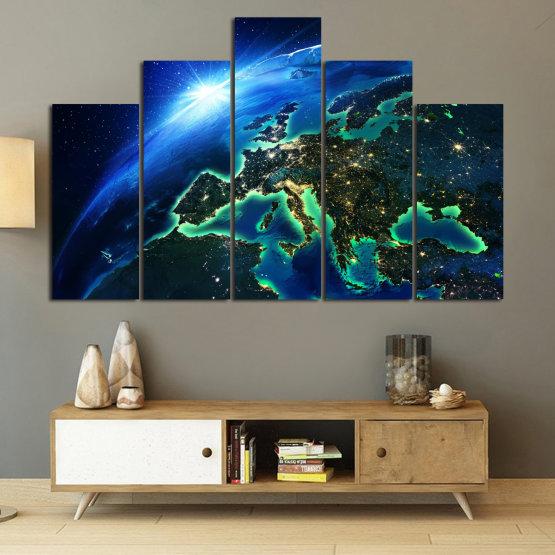 Декоративни панели и картини от канава - от 5 части №0834 » Син, Тюркоаз, Черен » Океан, Небе, Планета Form #5