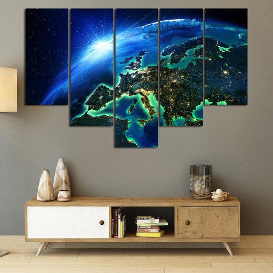 Декоративни панели и картини от канава - от 5 части №0834 » Син, Тюркоаз, Черен » Океан, Небе, Планета Form #6