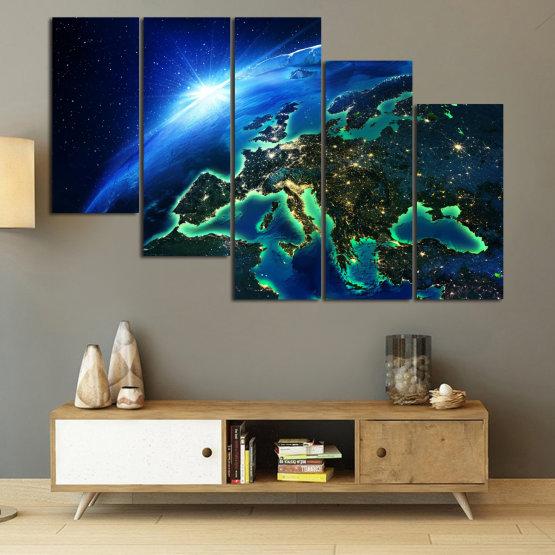 Декоративни панели и картини от канава - от 5 части №0834 » Син, Тюркоаз, Черен » Океан, Небе, Планета Form #7