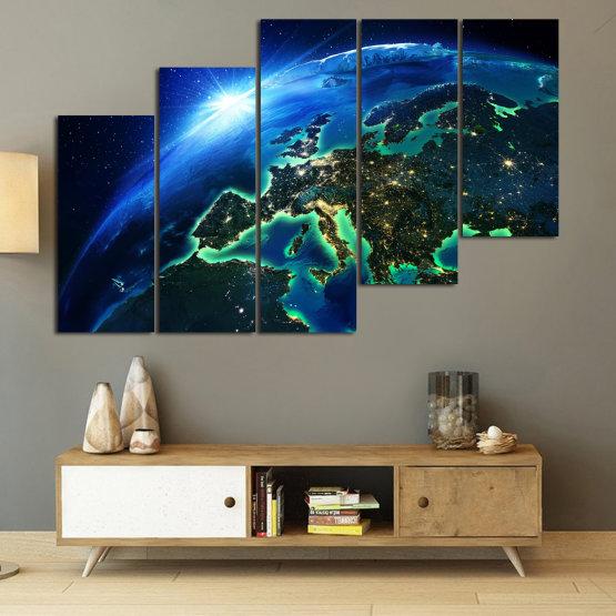 Декоративни панели и картини от канава - от 5 части №0834 » Син, Тюркоаз, Черен » Океан, Небе, Планета Form #8