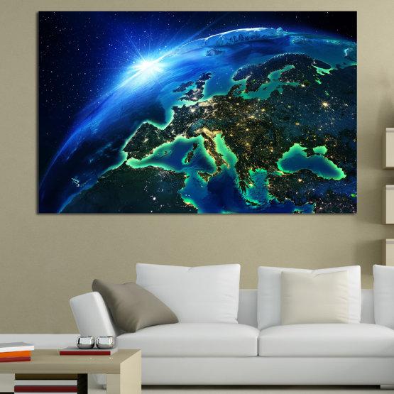Декоративни панели и картини от канава - от 1 част №0834 » Син, Тюркоаз, Черен » Океан, Небе, Планета Form #1