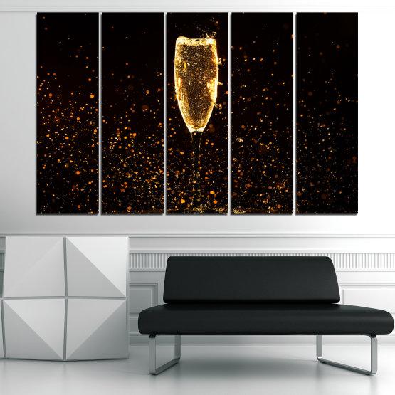 Декоративни панели и картини от канава - от 5 части №0835 » Червен, Оранжев, Кафяв, Черен » Отражение, Светлина, Нощ, Напитка, Черно, Ярък, Стъклена чаша, Страна, Блясък, Мехурчета, Шампанско, Звезди, Златист, Злато, Мехур, Течност Form #2