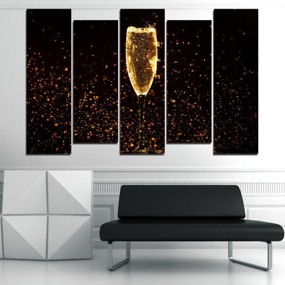 Декоративни панели и картини от канава - от 5 части №0835 » Червен, Оранжев, Кафяв, Черен » Отражение, Светлина, Нощ, Напитка, Черно, Ярък, Стъклена чаша, Страна, Блясък, Мехурчета, Шампанско, Звезди, Златист, Злато, Мехур, Течност Form #3