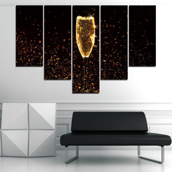 Декоративни панели и картини от канава - от 5 части №0835 » Червен, Оранжев, Кафяв, Черен » Отражение, Светлина, Нощ, Напитка, Черно, Ярък, Стъклена чаша, Страна, Блясък, Мехурчета, Шампанско, Звезди, Златист, Злато, Мехур, Течност Form #6