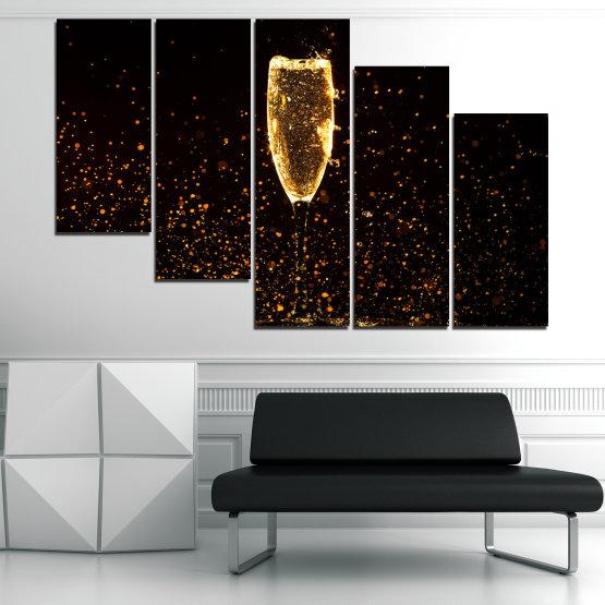 Декоративни панели и картини от канава - от 5 части №0835 » Червен, Оранжев, Кафяв, Черен » Отражение, Светлина, Нощ, Напитка, Черно, Ярък, Стъклена чаша, Страна, Блясък, Мехурчета, Шампанско, Звезди, Златист, Злато, Мехур, Течност Form #7