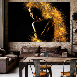 Art, Shine, Night, Light, Bright, Black, Dark, Glow, Fantasy, Stars, Splash, Person » Yellow, Orange, Brown, Black