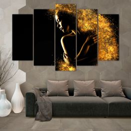 Art, Shine, Night, Light, Black, Bright, Dark, Glow, Fantasy, Stars, Splash, Person » Yellow, Orange, Brown, Black