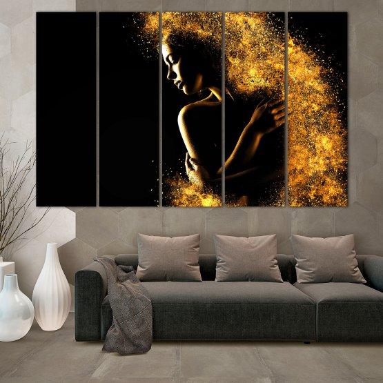 Декоративни панели и картини от канава - от 5 части №0838 » Жълт, Оранжев, Кафяв, Черен » Изкуство, Блестящ, Светлина, Нощ, Черно, Ярък, Тъмен, Блестя, Фантазия, Звезди, Плисък, Човек Form #2