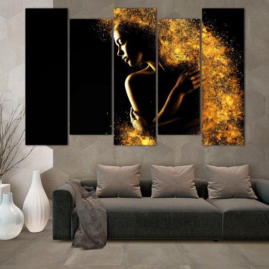Декоративни панели и картини от канава - от 5 части №0838 » Жълт, Оранжев, Кафяв, Черен » Изкуство, Блестящ, Светлина, Нощ, Черно, Ярък, Тъмен, Блестя, Фантазия, Звезди, Плисък, Човек Form #3