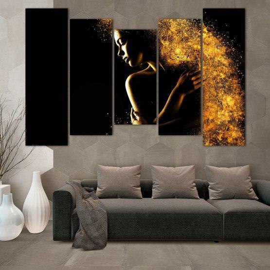 Декоративни панели и картини от канава - от 5 части №0838 » Жълт, Оранжев, Кафяв, Черен » Изкуство, Блестящ, Светлина, Нощ, Черно, Ярък, Тъмен, Блестя, Фантазия, Звезди, Плисък, Човек Form #4