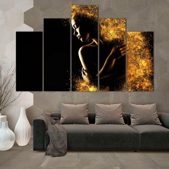 Декоративни панели и картини от канава - от 5 части №0838 » Жълт, Оранжев, Кафяв, Черен » Изкуство, Блестящ, Светлина, Нощ, Черно, Ярък, Тъмен, Блестя, Фантазия, Звезди, Плисък, Човек Form #5