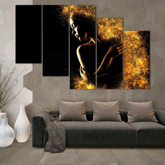 Декоративни панели и картини от канава - от 5 части №0838 » Жълт, Оранжев, Кафяв, Черен » Изкуство, Блестящ, Светлина, Нощ, Черно, Ярък, Тъмен, Блестя, Фантазия, Звезди, Плисък, Човек Form #7