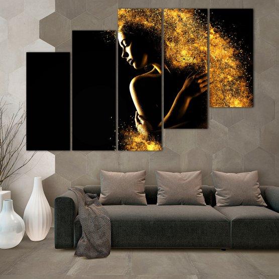 Декоративни панели и картини от канава - от 5 части №0838 » Жълт, Оранжев, Кафяв, Черен » Изкуство, Блестящ, Светлина, Нощ, Черно, Ярък, Тъмен, Блестя, Фантазия, Звезди, Плисък, Човек Form #8