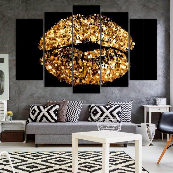 Декоративни панели и картини от канава - от 5 части №0836 » Оранжев, Кафяв, Черен, Бежов » Изкуство, Украса, Блестящ, Светлина, Черно, Дизайн, Стил, Празненство, Златист, Злато, Скъпоценен камък, Скъпоценен камък, Лъскав Form #1