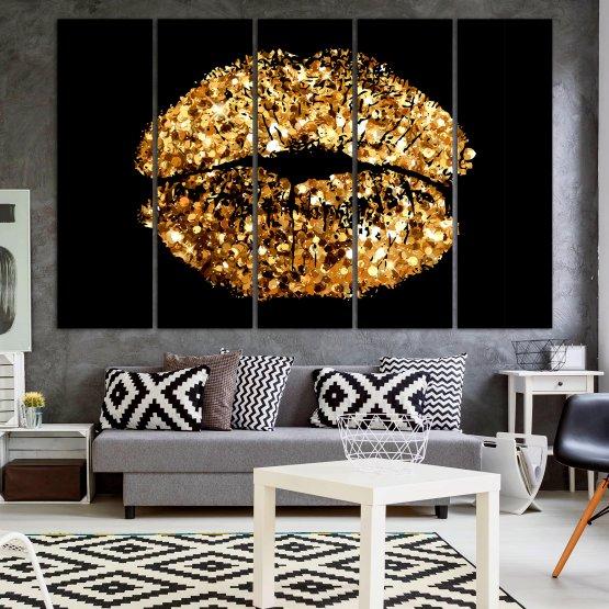 Декоративни панели и картини от канава - от 5 части №0836 » Оранжев, Кафяв, Черен, Бежов » Изкуство, Украса, Блестящ, Светлина, Черно, Дизайн, Стил, Празненство, Златист, Злато, Скъпоценен камък, Скъпоценен камък, Лъскав Form #2