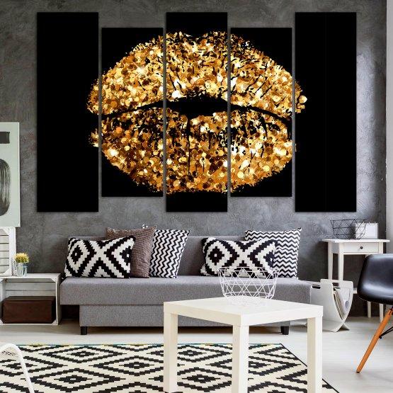 Декоративни панели и картини от канава - от 5 части №0836 » Оранжев, Кафяв, Черен, Бежов » Изкуство, Украса, Блестящ, Светлина, Черно, Дизайн, Стил, Празненство, Златист, Злато, Скъпоценен камък, Скъпоценен камък, Лъскав Form #3