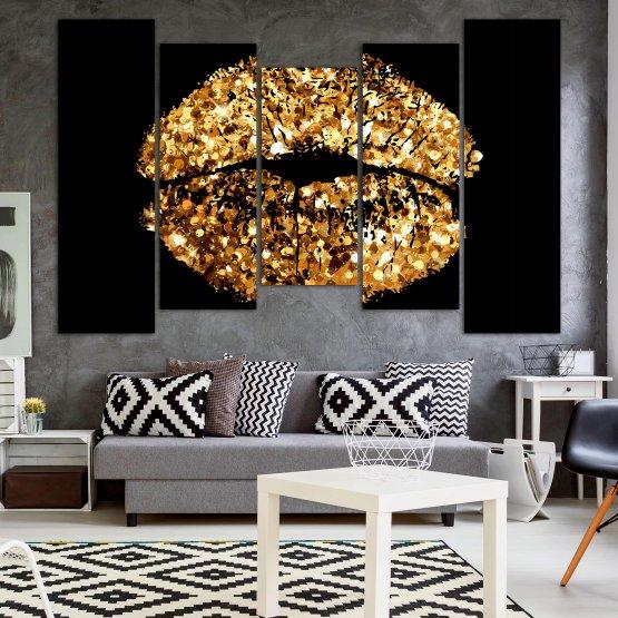Декоративни панели и картини от канава - от 5 части №0836 » Оранжев, Кафяв, Черен, Бежов » Изкуство, Украса, Блестящ, Светлина, Черно, Дизайн, Стил, Празненство, Златист, Злато, Скъпоценен камък, Скъпоценен камък, Лъскав Form #4