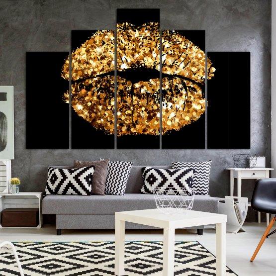 Декоративни панели и картини от канава - от 5 части №0836 » Оранжев, Кафяв, Черен, Бежов » Изкуство, Украса, Блестящ, Светлина, Черно, Дизайн, Стил, Празненство, Златист, Злато, Скъпоценен камък, Скъпоценен камък, Лъскав Form #5