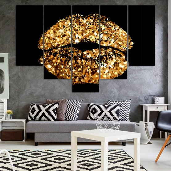 Декоративни панели и картини от канава - от 5 части №0836 » Оранжев, Кафяв, Черен, Бежов » Изкуство, Украса, Блестящ, Светлина, Черно, Дизайн, Стил, Празненство, Златист, Злато, Скъпоценен камък, Скъпоценен камък, Лъскав Form #6