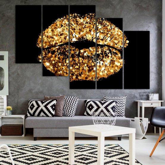 Декоративни панели и картини от канава - от 5 части №0836 » Оранжев, Кафяв, Черен, Бежов » Изкуство, Украса, Блестящ, Светлина, Черно, Дизайн, Стил, Празненство, Златист, Злато, Скъпоценен камък, Скъпоценен камък, Лъскав Form #7