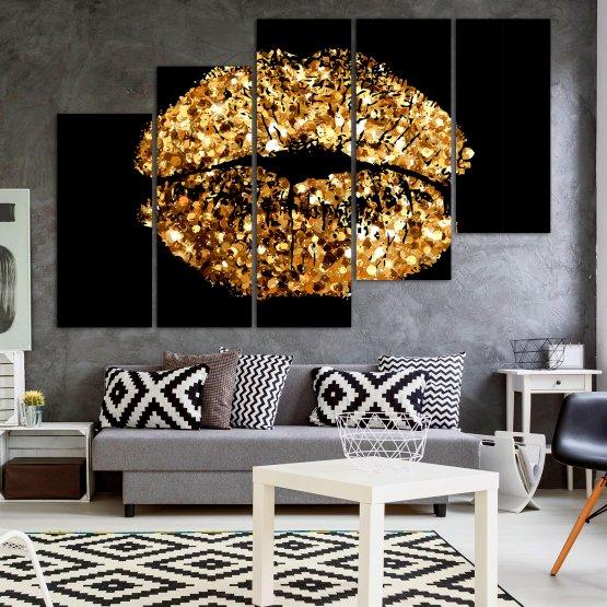 Декоративни панели и картини от канава - от 5 части №0836 » Оранжев, Кафяв, Черен, Бежов » Изкуство, Украса, Блестящ, Светлина, Черно, Дизайн, Стил, Празненство, Златист, Злато, Скъпоценен камък, Скъпоценен камък, Лъскав Form #8