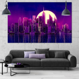 City, Modern, Sky, Reflection, Lights, Night, Light, Skyscraper, Architecture, Cityscape, Building, Structure, Tower, Evening, Downtown, Skyline, Urban » Purple, Blue, Black, Dark grey