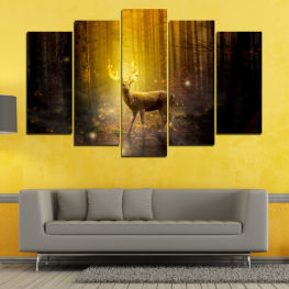 Animal, Wildlife, Forest, Trees, Wild, Wilderness, Brown, Reindeer, Horns » Green, Brown, Black, Dark grey