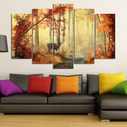 Landscape, Wildlife, Water, Tree, Trees, Autumn, River, Leaf, Natural, Leaves, Park, Outdoors, Wild, Wilderness, Peaceful, Woods » Orange, Brown, Black, Beige