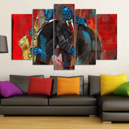 Art, Music, Color, Man, Face » Red, Brown, Black, Dark grey