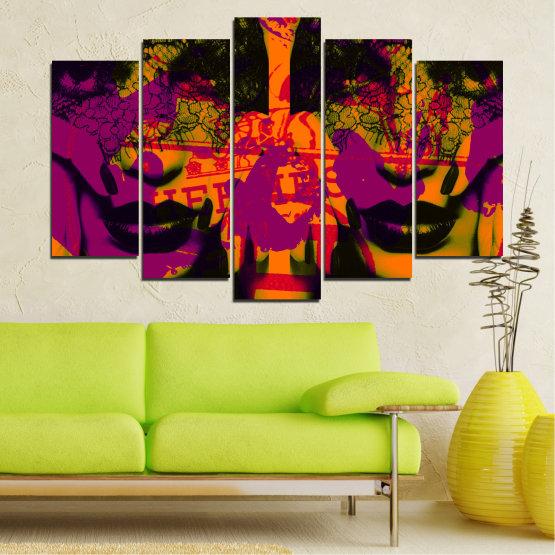 Декоративни панели и картини от канава - от 5 части №0847 » Лилав, Зелен, Оранжев, Черен » Жена, Изкуство, Модерен, Нощ, Цвят, Дизайн, Форма, Стил, Страна, Силует Form #1