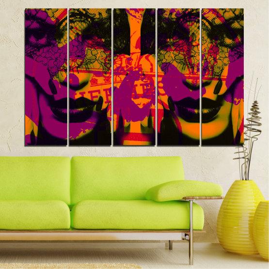 Декоративни панели и картини от канава - от 5 части №0847 » Лилав, Зелен, Оранжев, Черен » Жена, Изкуство, Модерен, Нощ, Цвят, Дизайн, Форма, Стил, Страна, Силует Form #2
