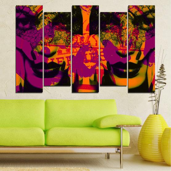 Декоративни панели и картини от канава - от 5 части №0847 » Лилав, Зелен, Оранжев, Черен » Жена, Изкуство, Модерен, Нощ, Цвят, Дизайн, Форма, Стил, Страна, Силует Form #3