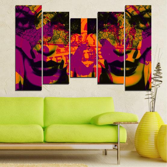 Декоративни панели и картини от канава - от 5 части №0847 » Лилав, Зелен, Оранжев, Черен » Жена, Изкуство, Модерен, Нощ, Цвят, Дизайн, Форма, Стил, Страна, Силует Form #4