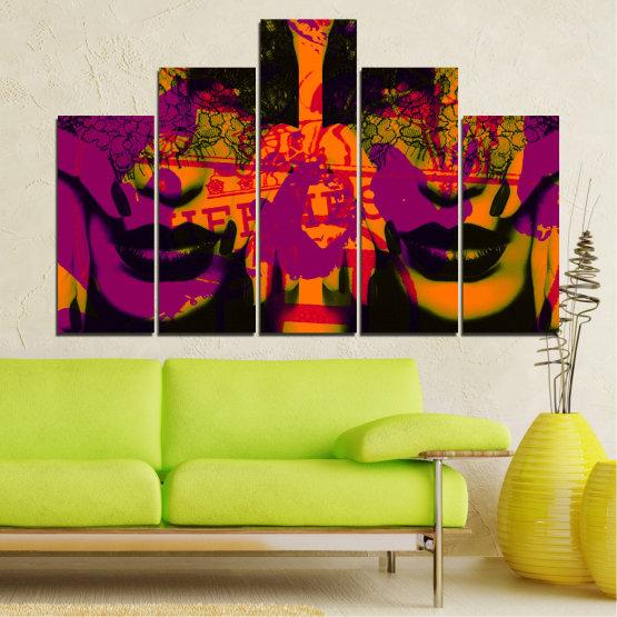 Декоративни панели и картини от канава - от 5 части №0847 » Лилав, Зелен, Оранжев, Черен » Жена, Изкуство, Модерен, Нощ, Цвят, Дизайн, Форма, Стил, Страна, Силует Form #5