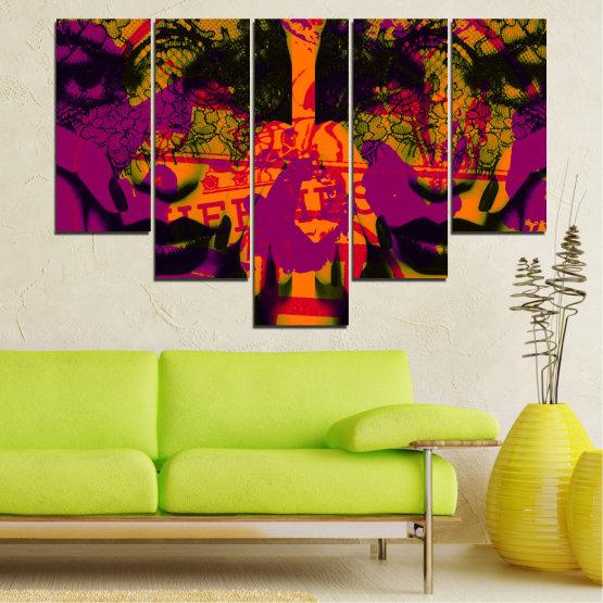 Декоративни панели и картини от канава - от 5 части №0847 » Лилав, Зелен, Оранжев, Черен » Жена, Изкуство, Модерен, Нощ, Цвят, Дизайн, Форма, Стил, Страна, Силует Form #6