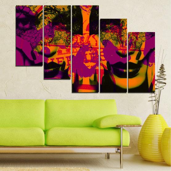 Декоративни панели и картини от канава - от 5 части №0847 » Лилав, Зелен, Оранжев, Черен » Жена, Изкуство, Модерен, Нощ, Цвят, Дизайн, Форма, Стил, Страна, Силует Form #7
