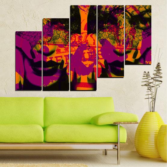Декоративни панели и картини от канава - от 5 части №0847 » Лилав, Зелен, Оранжев, Черен » Жена, Изкуство, Модерен, Нощ, Цвят, Дизайн, Форма, Стил, Страна, Силует Form #8