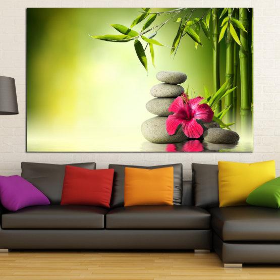 Декоративни панели и картини от канава - от 1 част №0848 » Зелен, Бял, Бежов » Цвете, Флора, Дърво, Пролет, Камъни, Бамбук, Спа, Светлина, Листо, Дърво, Растение, Цвят, Живот, Отдих, Разцвет, Спокойствие, Хармония Form #1