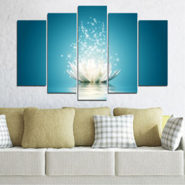 Flower, Art, Lights, Light, Glow, Sparkle, Shiny, Magic, Elegance, Floral » Blue, Turquoise, Dark grey