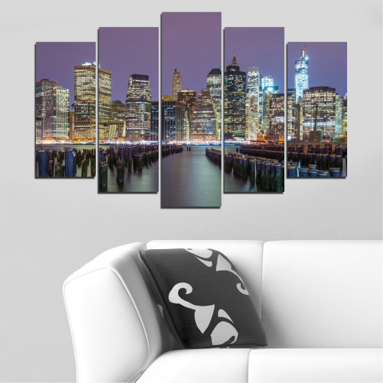 Canvas prints & wall decorative panels - 5 pieces №0010 » Purple, Brown, Black, Gray, Dark grey » Water, City, New york, Night, Skyscraper, Usa Form #1