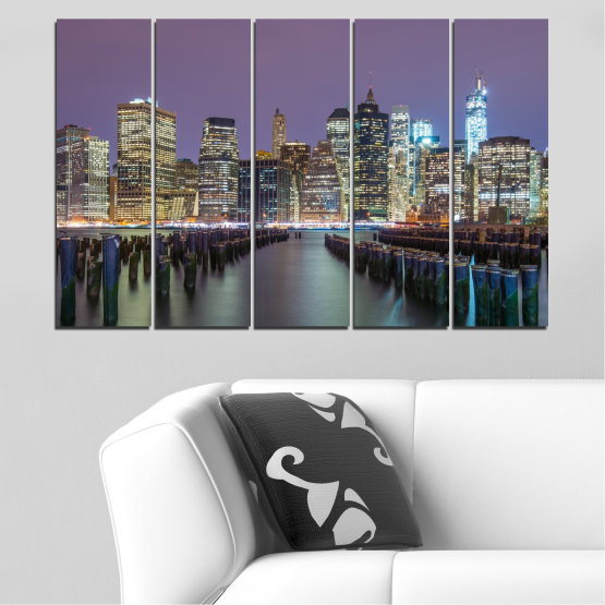 Canvas prints & wall decorative panels - 5 pieces №0010 » Purple, Brown, Black, Gray, Dark grey » Water, City, New york, Night, Skyscraper, Usa Form #2