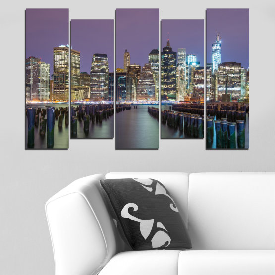 Canvas prints & wall decorative panels - 5 pieces №0010 » Purple, Brown, Black, Gray, Dark grey » Water, City, New york, Night, Skyscraper, Usa Form #3