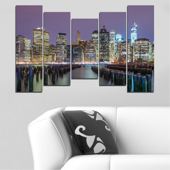 Canvas prints & wall decorative panels - 5 pieces №0010 » Purple, Brown, Black, Gray, Dark grey » Water, City, New york, Night, Skyscraper, Usa Form #4