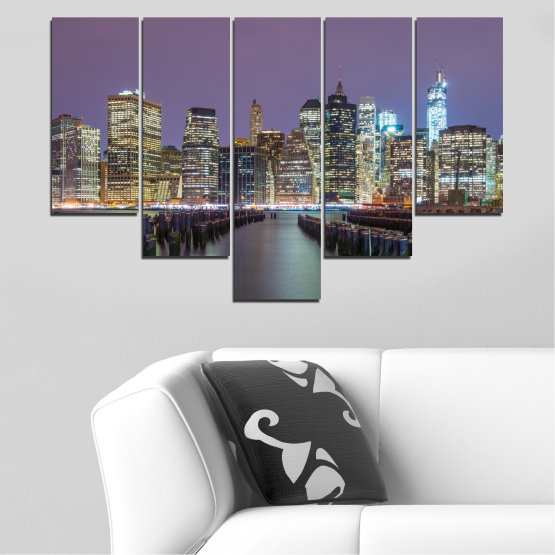 Canvas prints & wall decorative panels - 5 pieces №0010 » Purple, Brown, Black, Gray, Dark grey » Water, City, New york, Night, Skyscraper, Usa Form #6