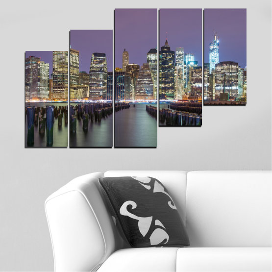 Canvas prints & wall decorative panels - 5 pieces №0010 » Purple, Brown, Black, Gray, Dark grey » Water, City, New york, Night, Skyscraper, Usa Form #8